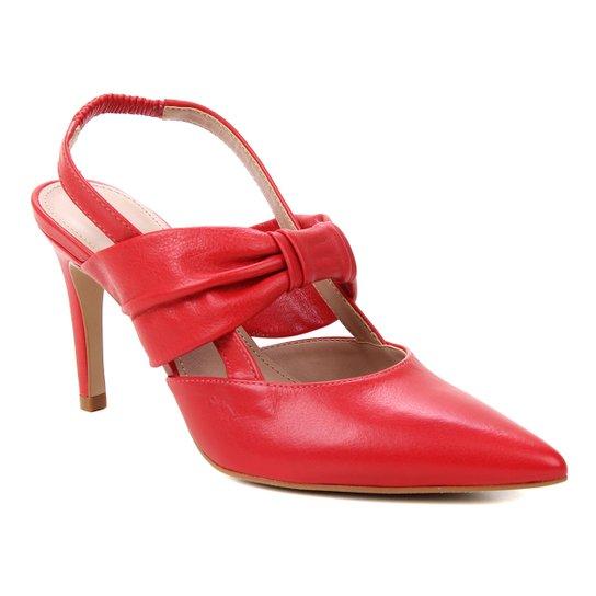 Scarpin Couro Shoestock Salto Alto Soft - Vermelho