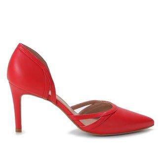 Scarpin Couro Shoestock Salto Alto Tiras