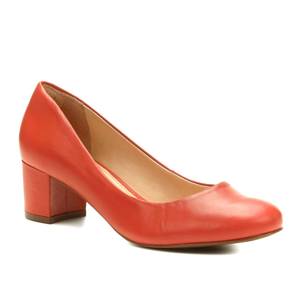 4f207f9a8c 0668e61c8 Scarpin Couro Shoestock Salto Baixo Bico Redondo - Compre Agora .
