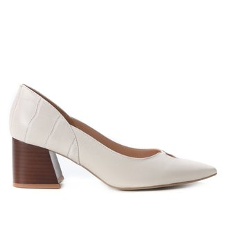 Scarpin Couro Shoestock Salto Fachete Recorte