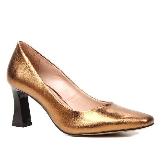 Scarpin Couro Shoestock Salto Flare Bico Quadrado - Bronze