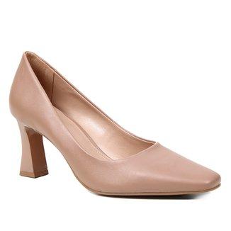 Scarpin Couro Shoestock Salto Flare Bico Quadrado