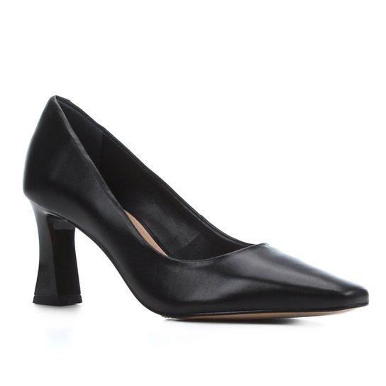 Scarpin Couro Shoestock Salto Flare Bico Quadrado - Preto