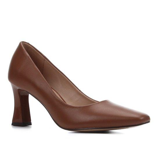 Scarpin Couro Shoestock Salto Flare Bico Quadrado - Marrom