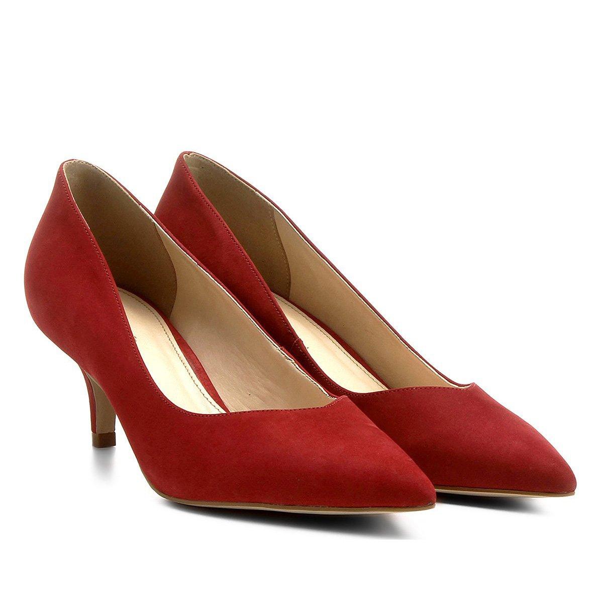 91136a2c1 Scarpin Couro Shoestock Salto Médio Bico Fino - Vermelho - Compre Agora