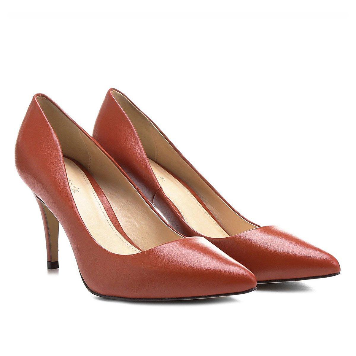 36afec6f20 Scarpin Couro Shoestock Salto Médio Bico Fino - Laranja Escuro ...