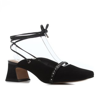 Scarpin Couro Shoestock Salto Médio Bico Quadrado Cravos