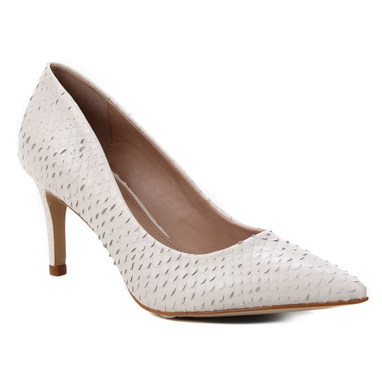 Scarpin Couro Shoestock Salto Médio Cobra - Off White