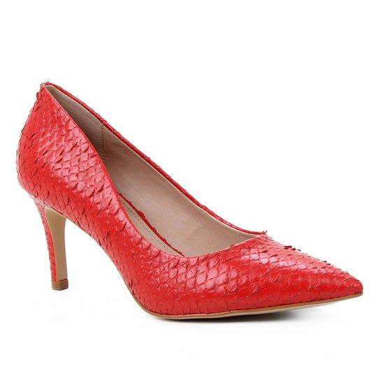 Scarpin Couro Shoestock Salto Médio Cobra - Vermelho