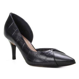Scarpin Couro Shoestock Salto Médio Croco Recorte