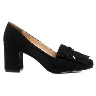 Scarpin Couro Shoestock Salto Médio Franjas