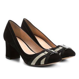Scarpin Couro Shoestock Salto Médio Gorgurão