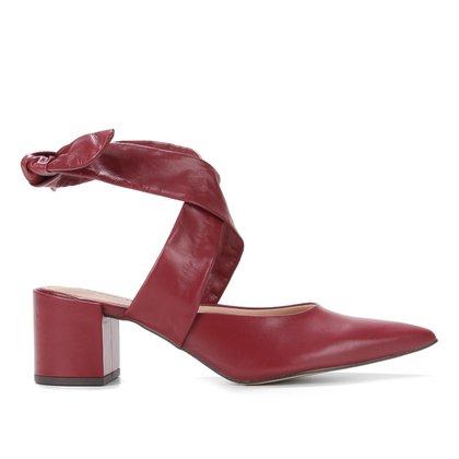 Scarpin Couro Shoestock Slingback Amarração Salto Médio