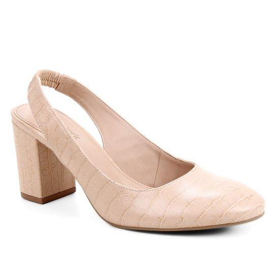 Scarpin Couro Shoestock Slingback Croco Salto Médio - Nude
