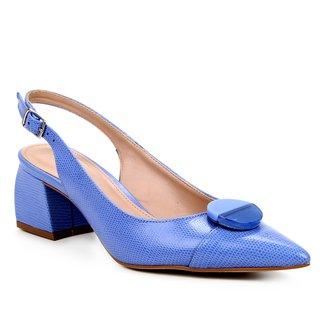 Scarpin Couro Shoestock Slingback Lezard Salto Médio