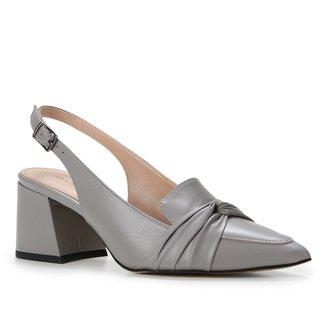 Scarpin Couro Shoestock Slingback Salto Bloco Médio