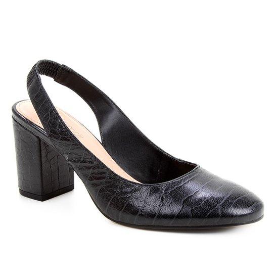 Scarpin Couro Shoestock Slingback Salto Médio - Preto