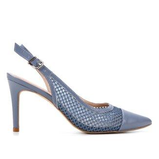 Scarpin Couro Shoestock Slingback Tela Salto Alto