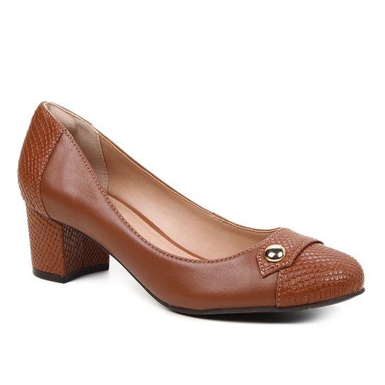 Scarpin Couro Shoestock Snake Salto Bloco Médio - Marrom
