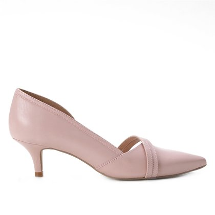 Scarpin Couro Shoestock Tiras Salto Médio