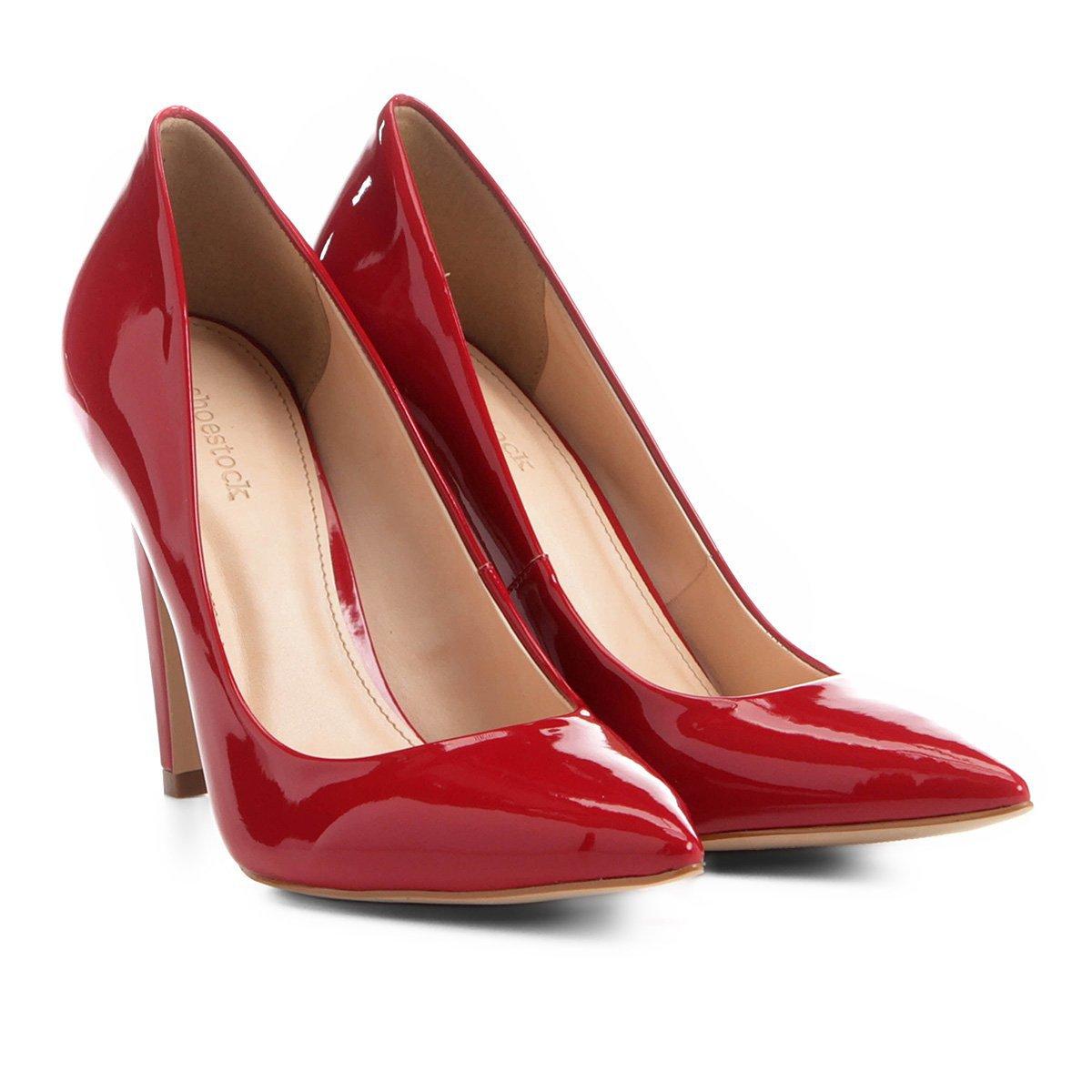 f75d6071d Scarpin Shoestock Salto Alto Bico Fino - Vermelho - Compre Agora ...