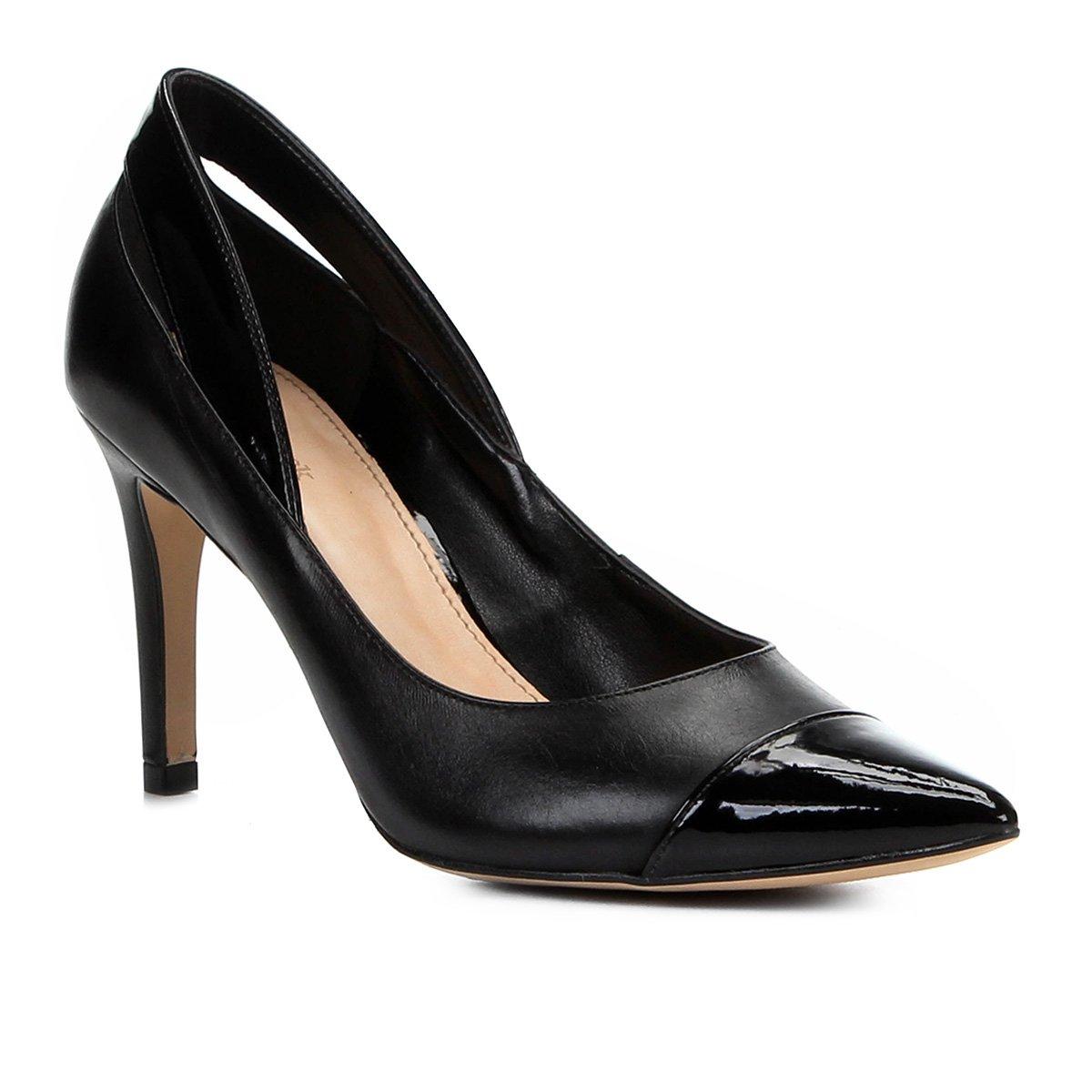 6a1ee5004c Scarpin Shoestock Salto Alto Detalhes Verniz - Preto