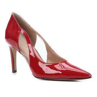 Scarpin Shoestock Salto Alto Verniz Tela
