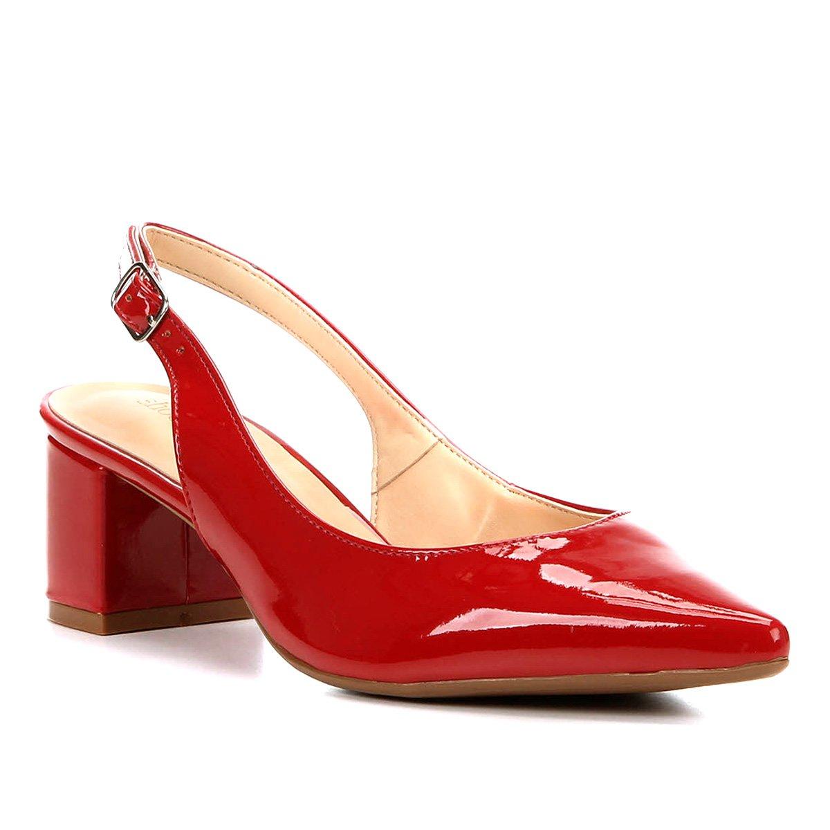 ba5fe8008b Scarpin Shoestock Salto Baixo Verniz Bico Fino - Vermelho