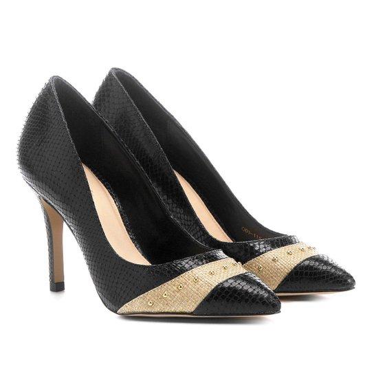 Scarpin Shoestock Salto Fino Cobra - Preto+Bege