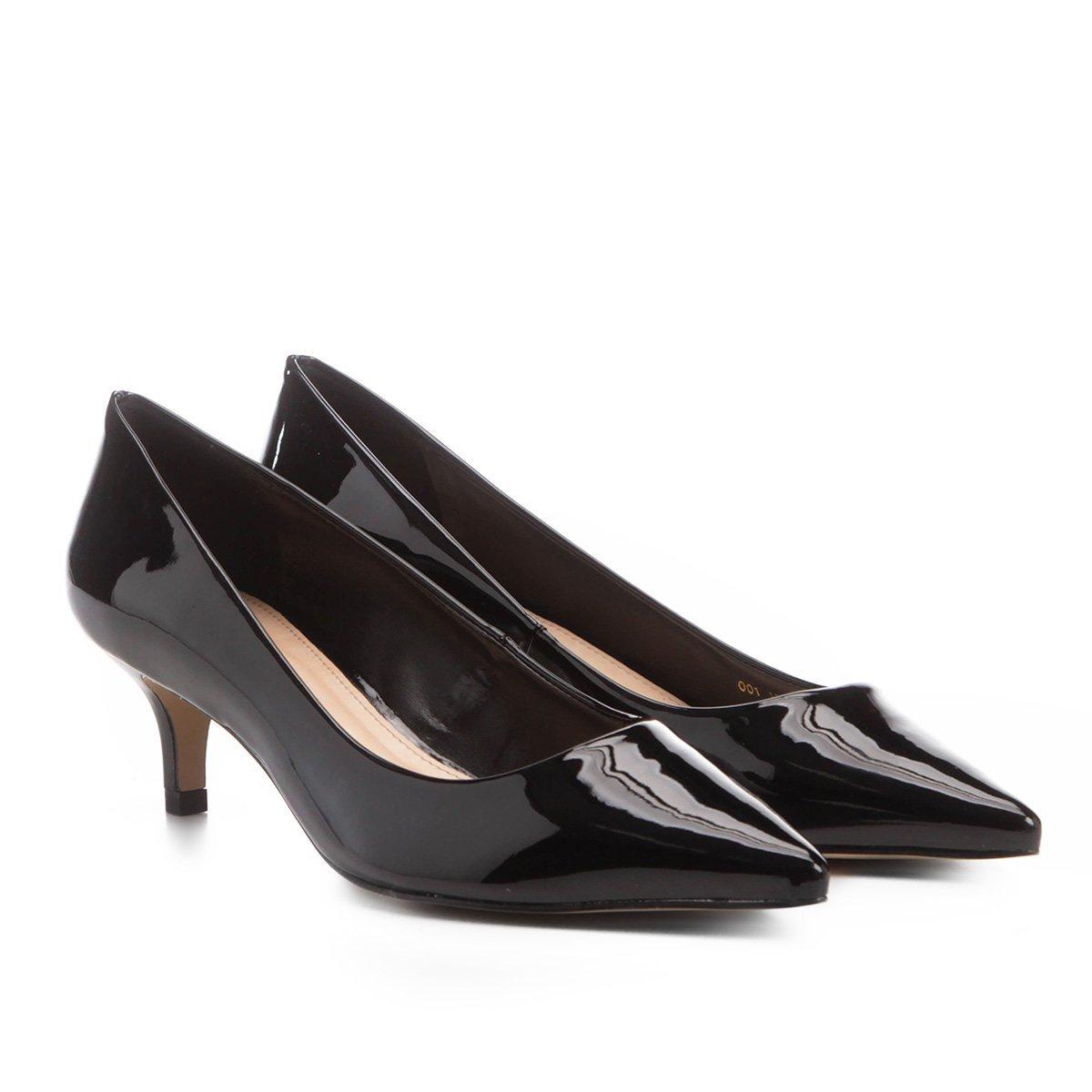 a6fdbe3332 Scarpin Shoestock Salto Médio Verniz - Preto - Compre Agora