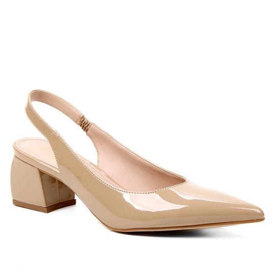 Scarpin Shoestock Slingback Verniz Salto Médio Naked - Castanha