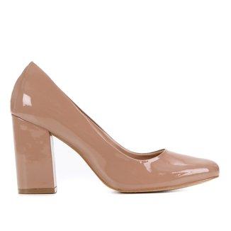 Scarpin Shoestock Verniz Salto Alto Bloco