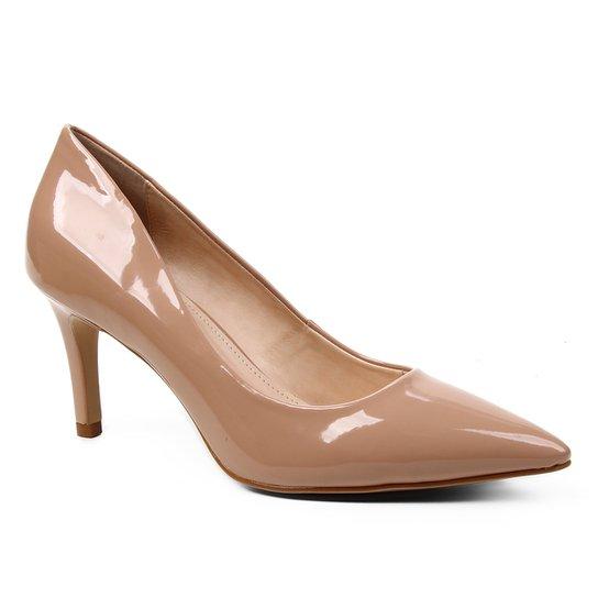Scarpin Shoestock Verniz Salto Médio Naked - Noz