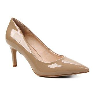Scarpin Shoestock Verniz Salto Médio Naked