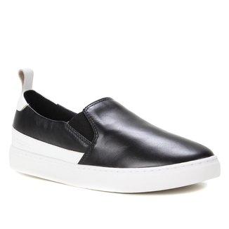 Slip On Couro Shoestock Bicolor Feminino