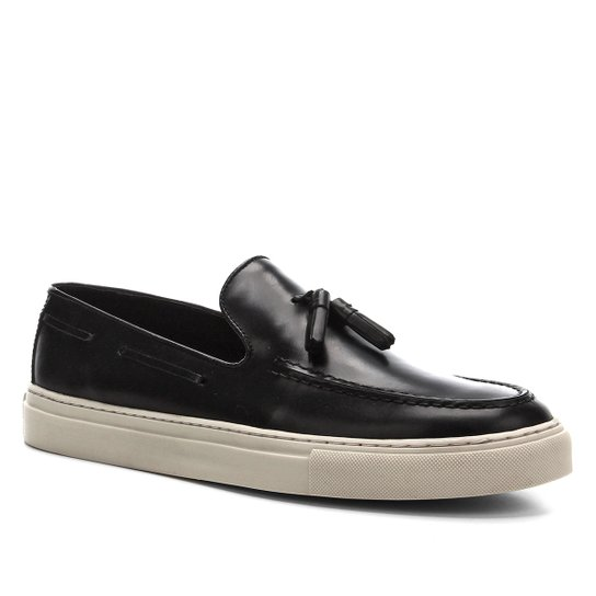 Slip On Couro Shoestock Casual Masculino - Preto