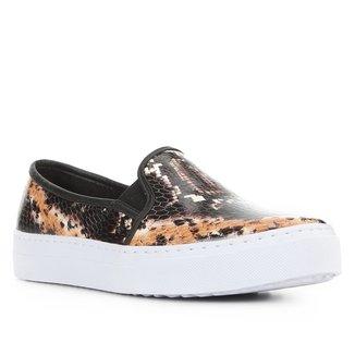 Slip on Couro Shoestock Cobra Feminino