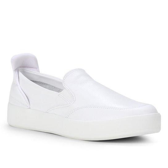Slip On Couro Shoestock Comfy Feminino - Branco