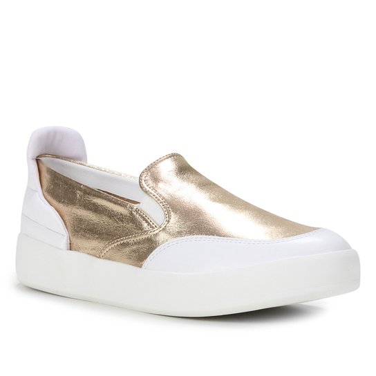 Slip On Couro Shoestock Comfy Feminino - Dourado