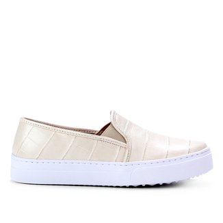 Slip On Couro Shoestock Croco Feminino
