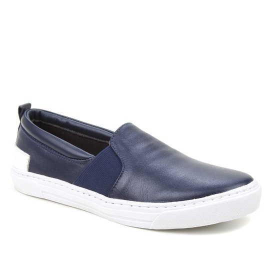 Slip On Couro Shoestock Elástico Feminino - Marinho+Branco