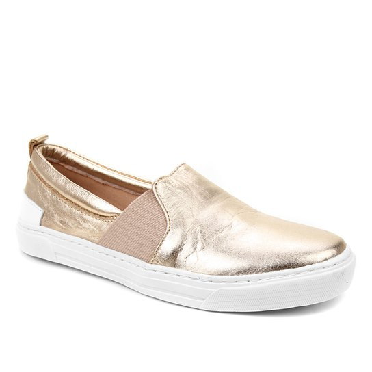 Slip On Couro Shoestock Elástico Feminino - Dourado