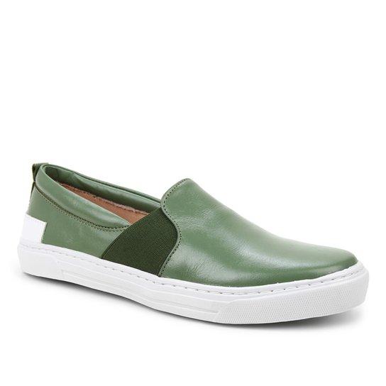 Slip On Couro Shoestock Elástico Feminino - Verde Militar
