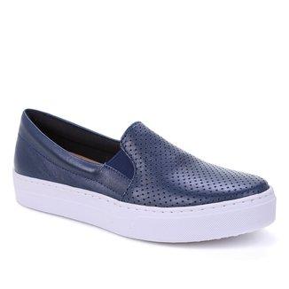 Slip On Couro Shoestock Furadinho Feminino