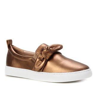 Slip On Couro Shoestock Laço Feminino