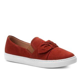 Slip On Couro Shoestock Laço Nobuck Feminino
