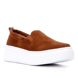 Slip On Couro Shoestock Nobuck Perfuros Feminino