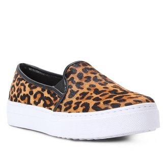 Slip On Couro Shoestock Pelo Onça Feminino