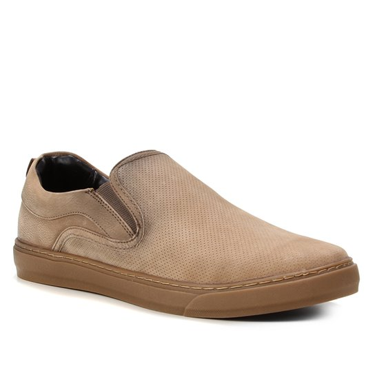 Slip On Couro Shoestock Stoned Masculino - Bege