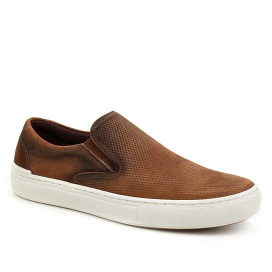 Slip On Couro Shoestock Stoned Masculino - Caramelo
